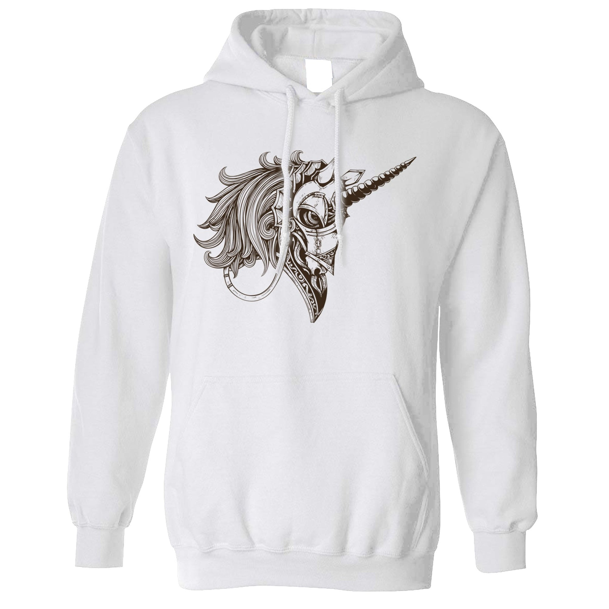 Gothic Art Hoodie Armoured Unicorn Graphic