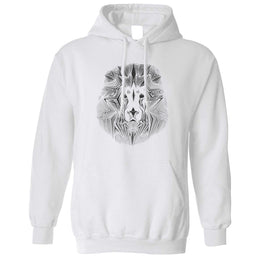 Wildlife Art Unisex Hoodie Geometric Lion Graphic