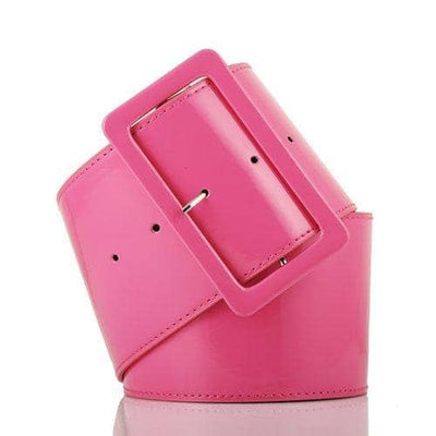 70s Style Ladies Girls Retro PVC Wide Cinch Waist Belt With Big Buckle