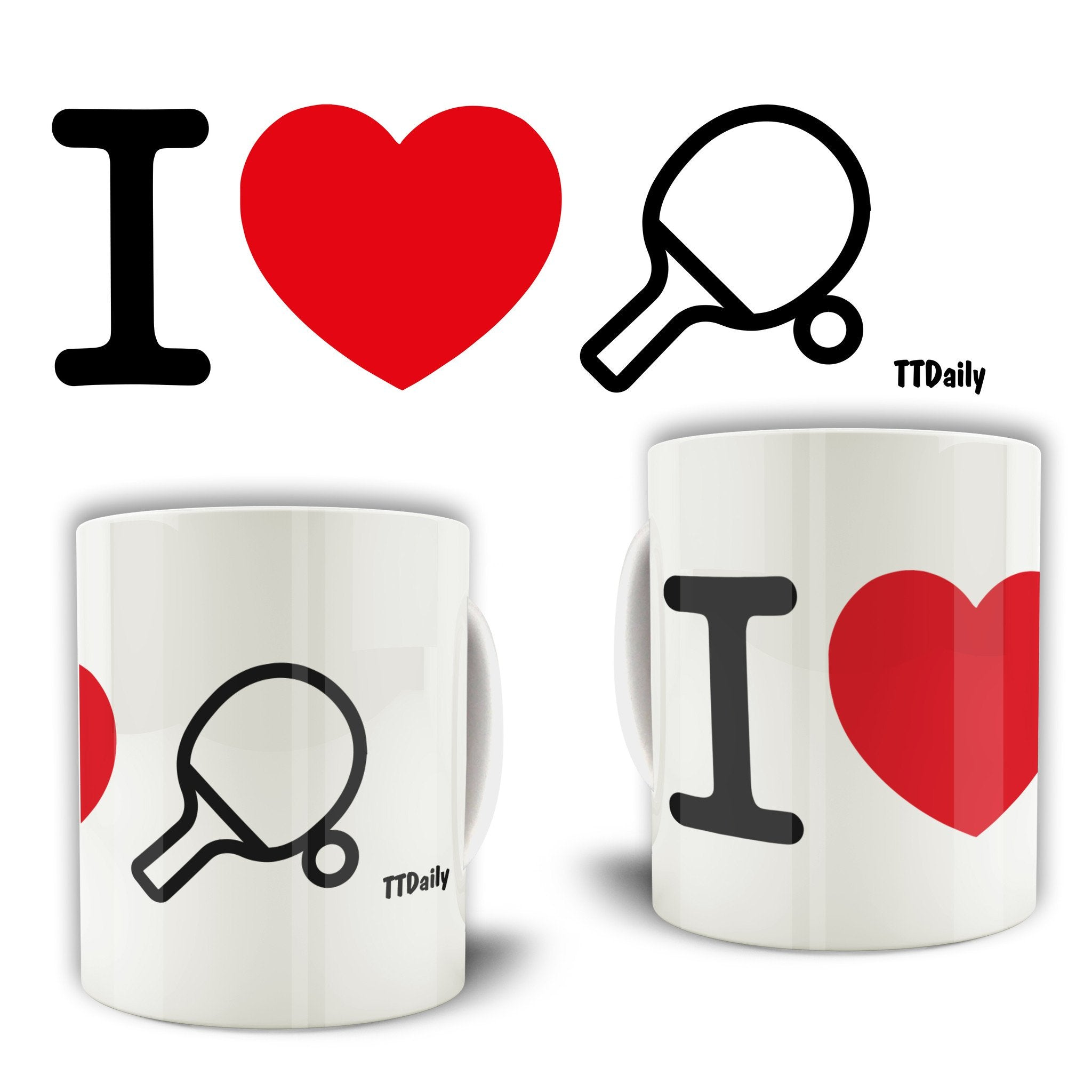 I Love Table Tennis Mug Ping Pong Player Heart Design Coffee Tea Cup