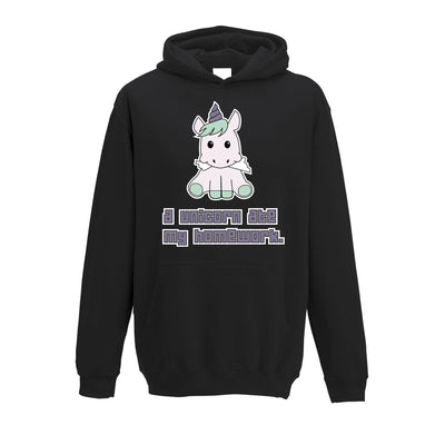 Joke Student Kids Hoodie A Unicorn Ate My Homework Slogan Childs