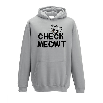 Novelty Pet Kids Hoodie Check Meowt Cat Slogan Childs