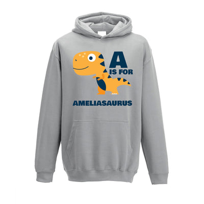 Dinosaur Kids Hoodie Amelia Saurus Birth Name Childs