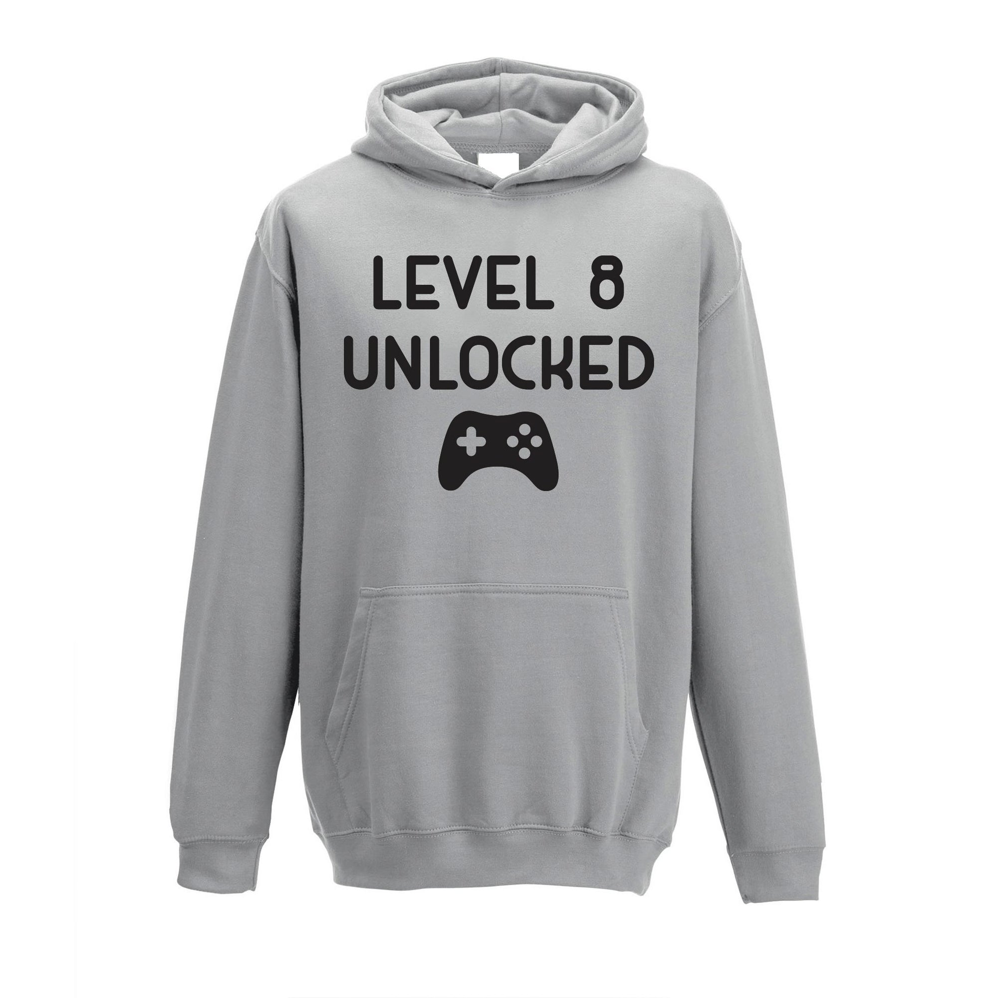 Gamers 8th Birthday Kids Hoodie Level 8 Unlocked Kids Childs