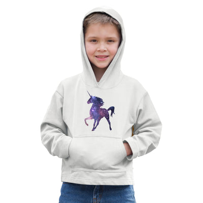 Mythical Space Kids Hoodie Galaxy Unicorn Silhouette Childs
