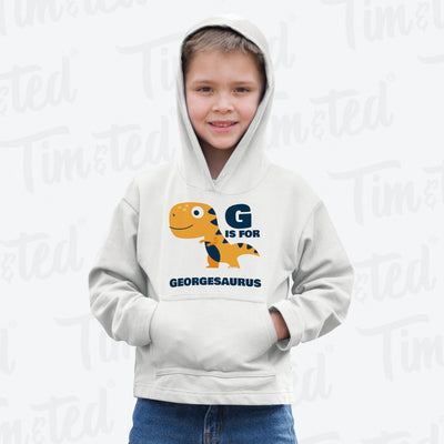 Dinosaur Kids Hoodie George Saurus Birth Name Childs