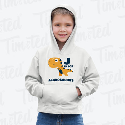 Dinosaur Kids Hoodie Jack Saurus Birth Name Childs