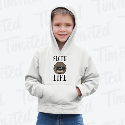 Novelty Animal Kids Hoodie Sloth Life Pun Slogan Childs