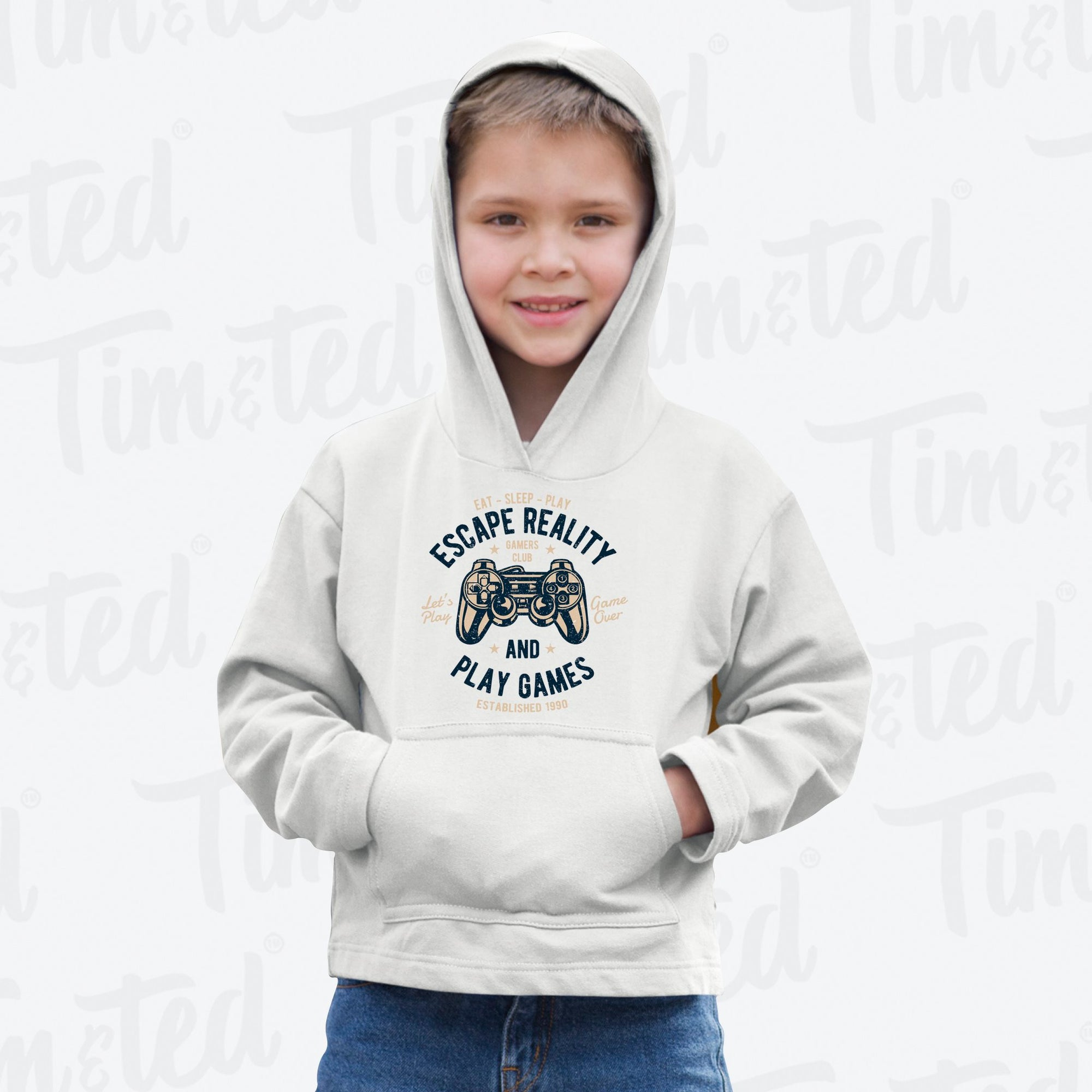 Retro Gamer Art Kids Hoodie Escape Reality And Play Games Childs