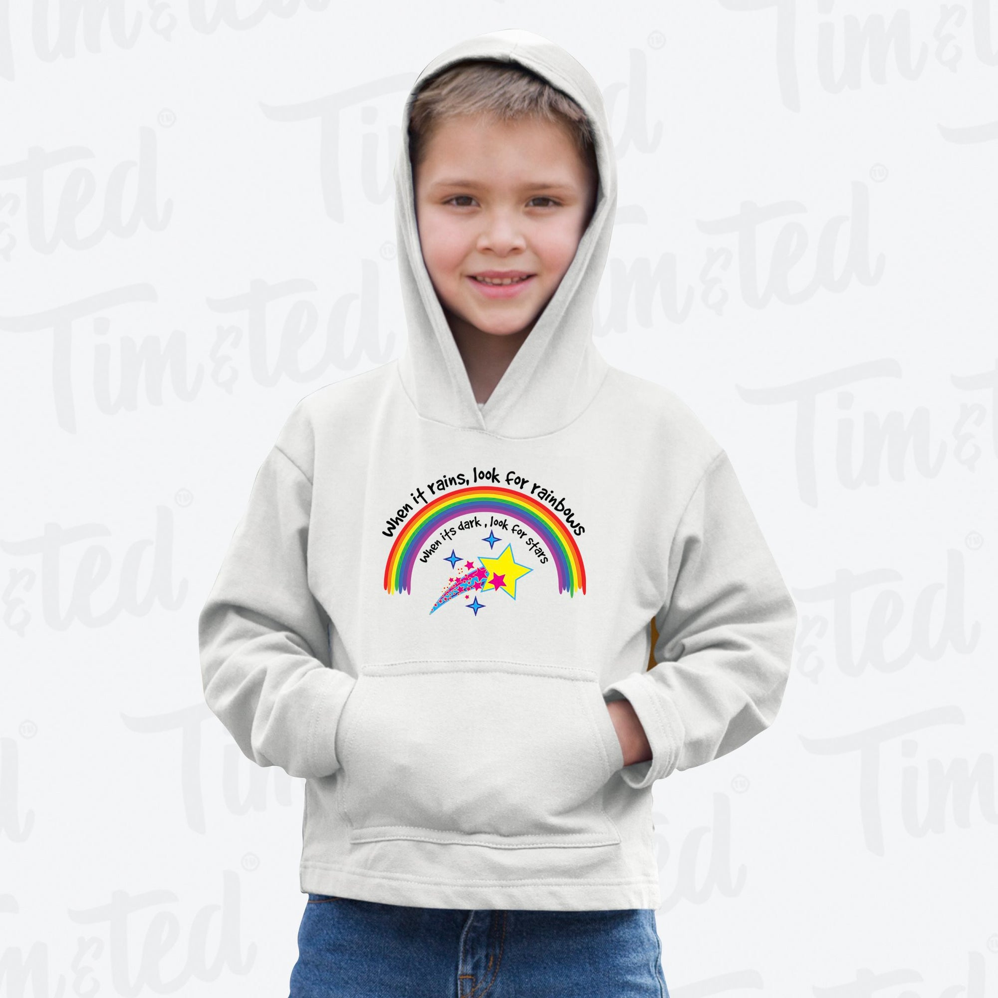 Inspirational Kids Hoodie When It Rains, Look For Rainbows Childs