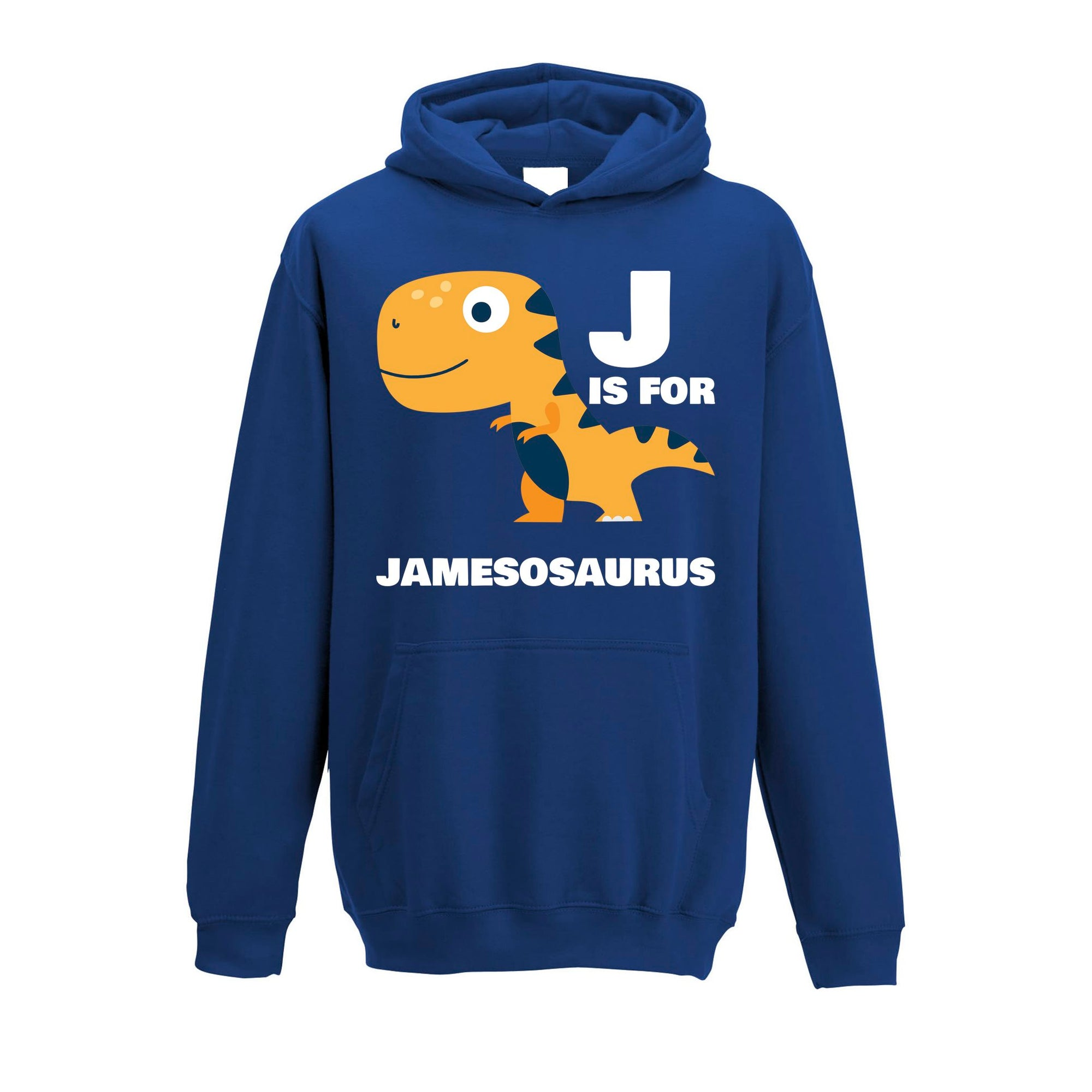 Dinosaur Kids Hoodie James Saurus Birth Name Childs