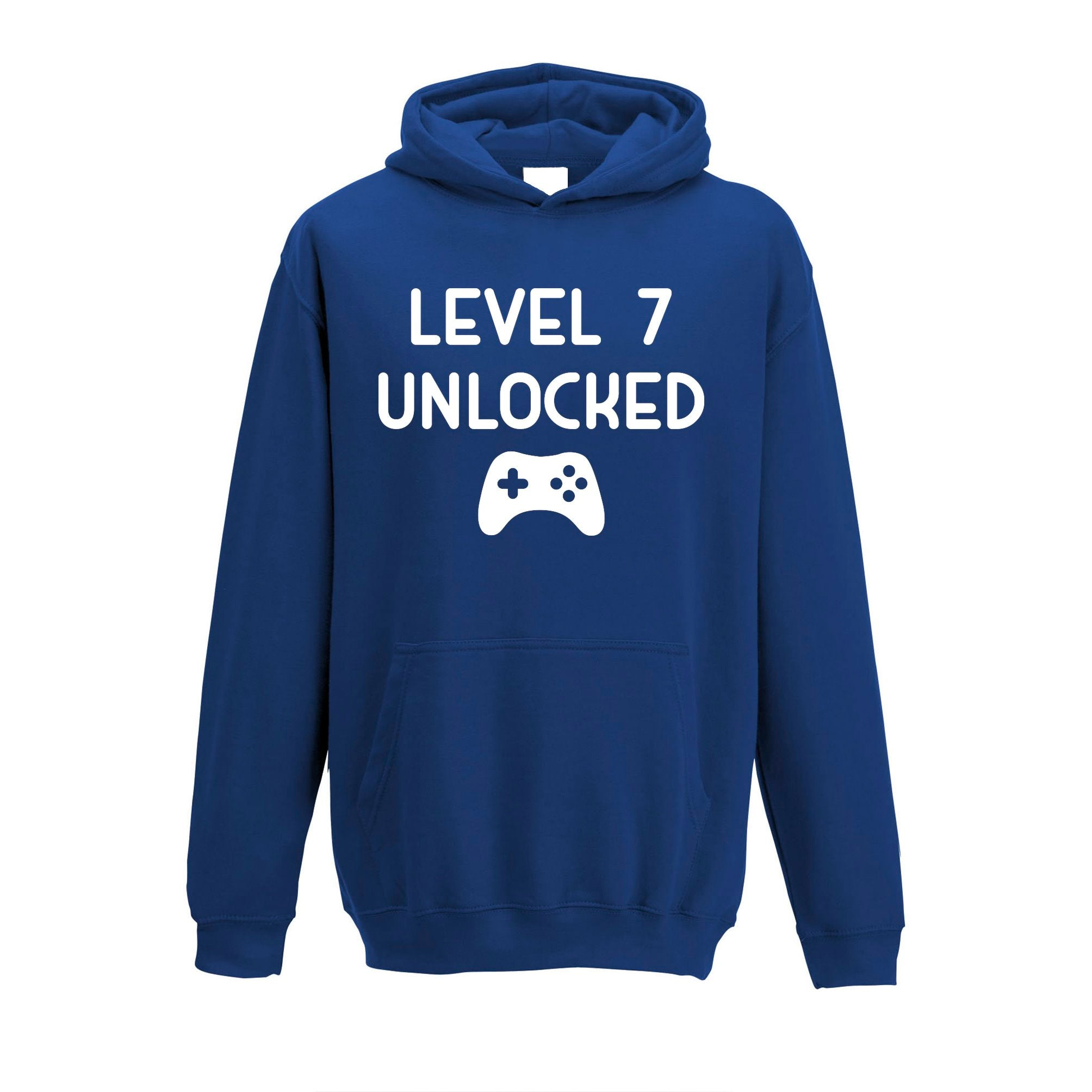 Gamers 7th Birthday Kids Hoodie Level 7 Unlocked Kids Childs