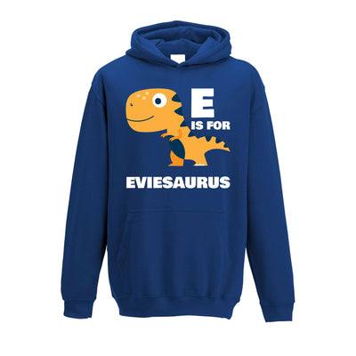 Dinosaur Kids Hoodie Evie Saurus Birth Name Childs