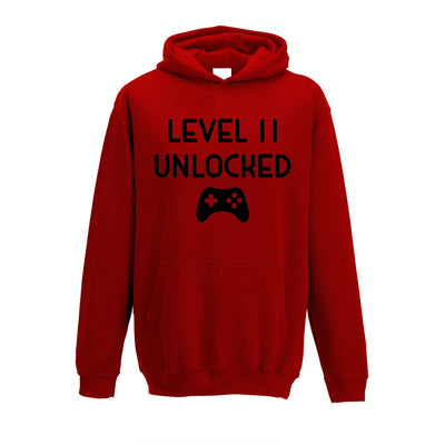 Gamers 11th Birthday Kids Hoodie Level 11 Unlocked Kids Childs
