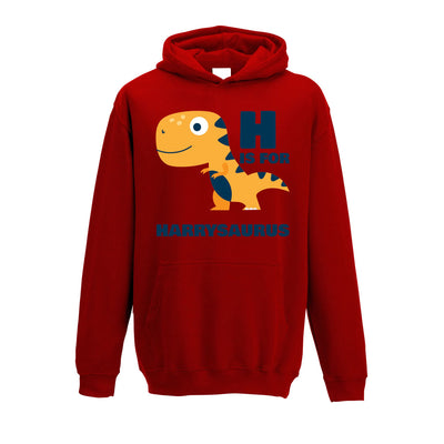 Dinosaur Kids Hoodie Harry Saurus Birth Name Childs