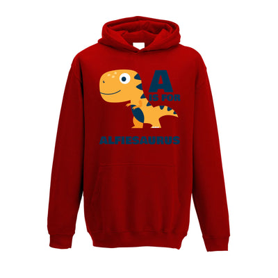 Dinosaur Kids Hoodie Alfie Saurus Birth Name Childs