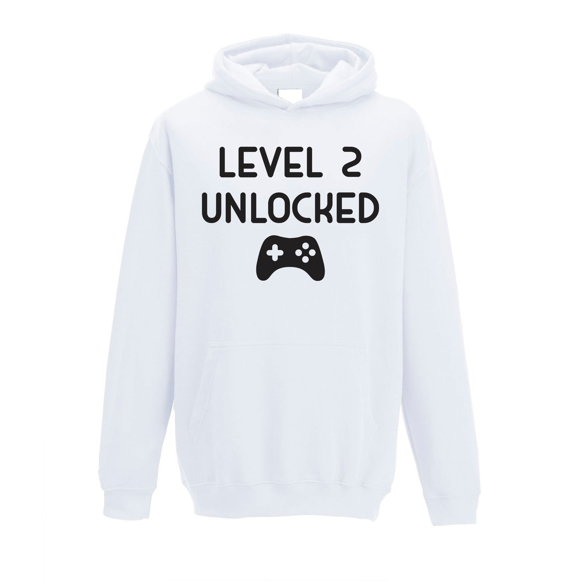 Gamers 2nd Birthday Kids Hoodie Level 2 Unlocked Kids Childs