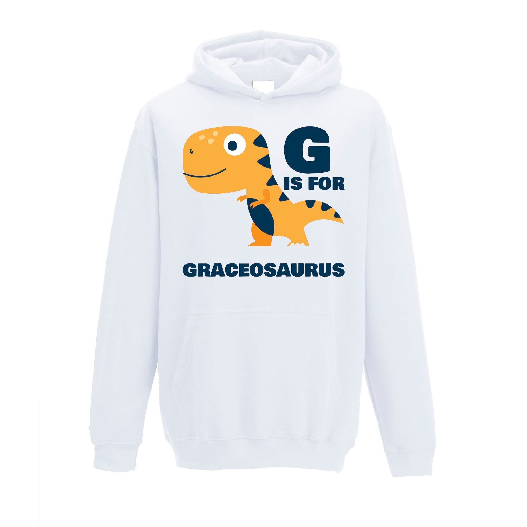 Dinosaur Kids Hoodie Grace Saurus Birth Name Childs
