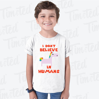 Novelty Unicorn Kids T Shirt I Don't Believe In Humans Childs