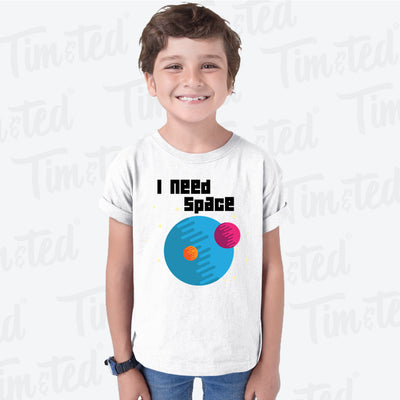 Novelty Nerd Kids T Shirt I Need Space Planets Slogan Childs