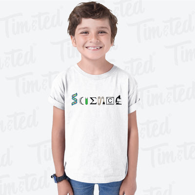 The Word Science Kids T Shirt Made From Scientific Things Childs