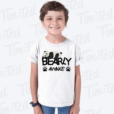 Lazy Panda Kids T Shirt Bearly Awake Slogan Pun Childs