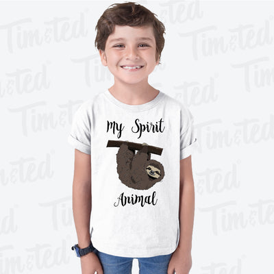 Novelty Lazy Kids T Shirt My Spirit Animal Is A Sloth Childs