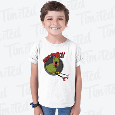 Novelty Kids T Shirt Unstoppable T-Rex With Grabber Hands Childs
