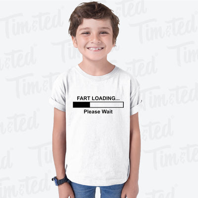 Novelty Kids T Shirt Fart Loading Bar Please Wait Childs