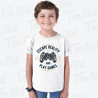 Retro Gamer Art Kids T Shirt Escape Reality And Play Games Childs Tee