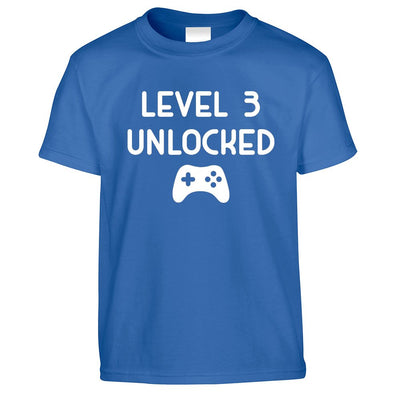 Gamers 3rd Birthday Kid's T Shirt Level 3 Unlocked Kids