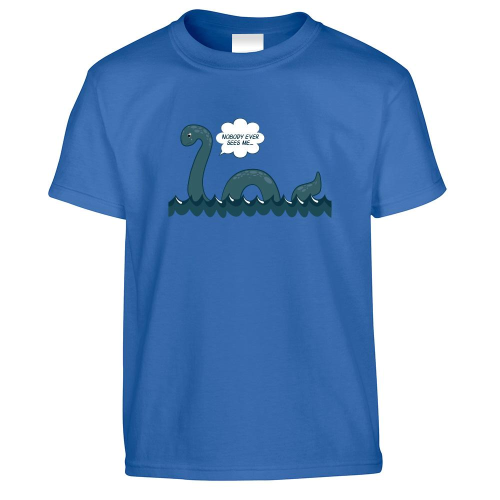 Loch Ness Monster Kids T Shirt Nobody Sees Me Joke Childs