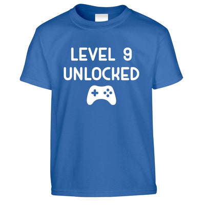 Gamers 9th Birthday Kids T Shirt Level 9 Unlocked Kids Childs