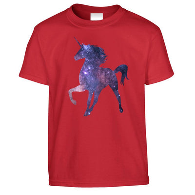 Mythical Space Kids T Shirt Galaxy Unicorn Silhouette Childs