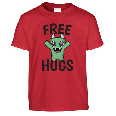 Festival Kids T Shirt Free Hugs Slogan With Cute Monster Childs