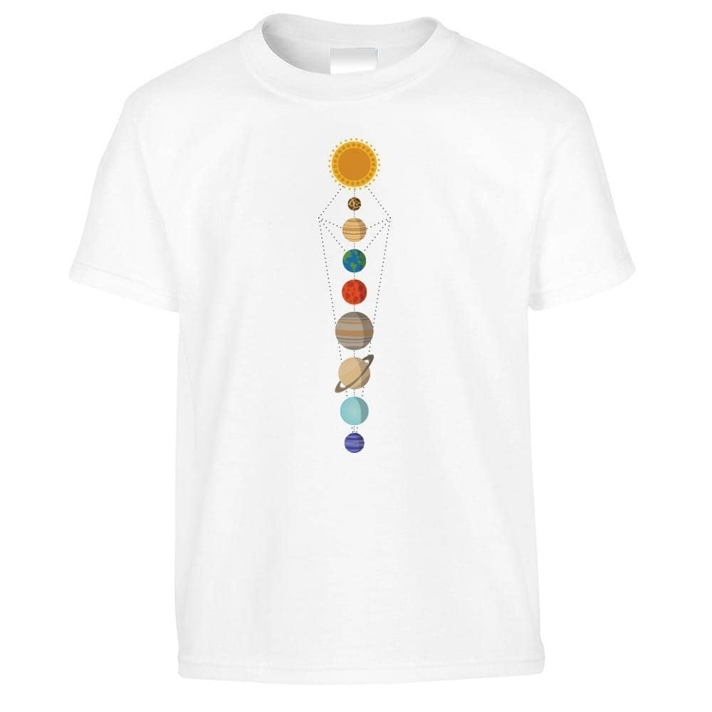 Cool Nerdy Kid's T Shirt Geometric Solar System Space Art