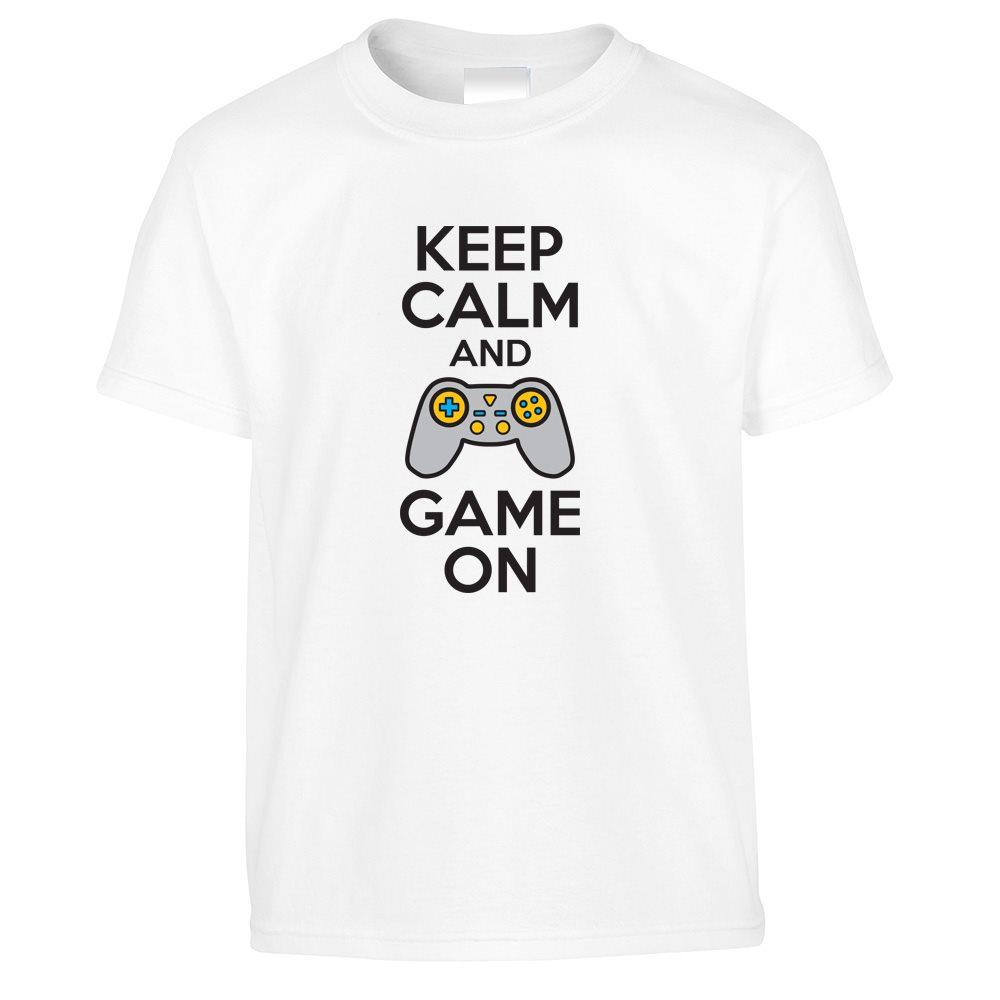 Novelty Kids T Shirt Keep Calm And Game On Slogan