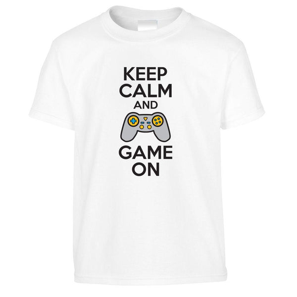 Novelty Kids T Shirt Keep Calm And Game On Slogan Childs