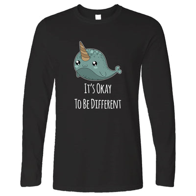 Cute Narwhal Long Sleeve It's Okay To Be Different Slogan T-Shirt