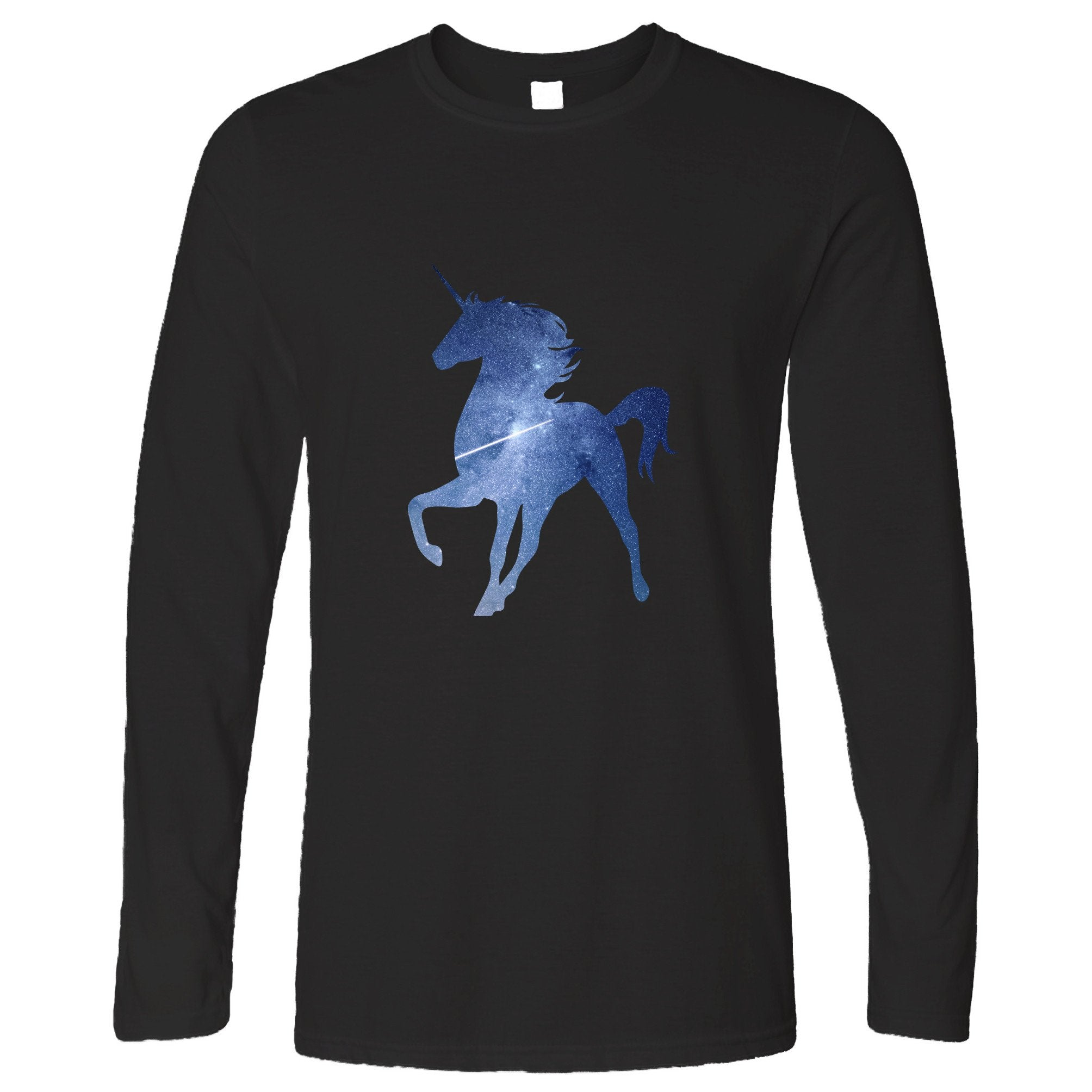 Mythical Space Long Sleeve Galaxy Unicorn Silhouette T-Shirt