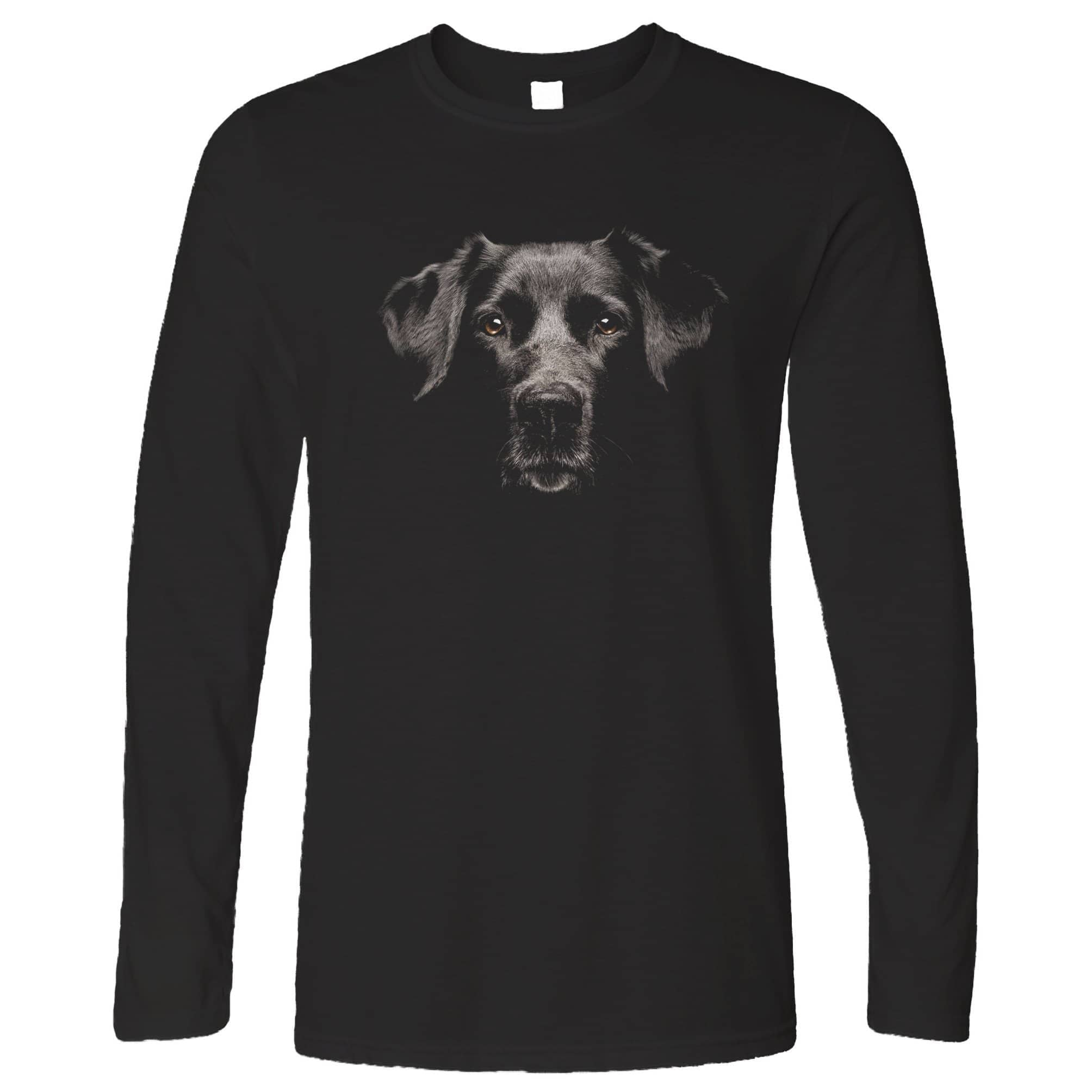Dog Face Long Sleeve Cute Puppy Head Photo T-Shirt
