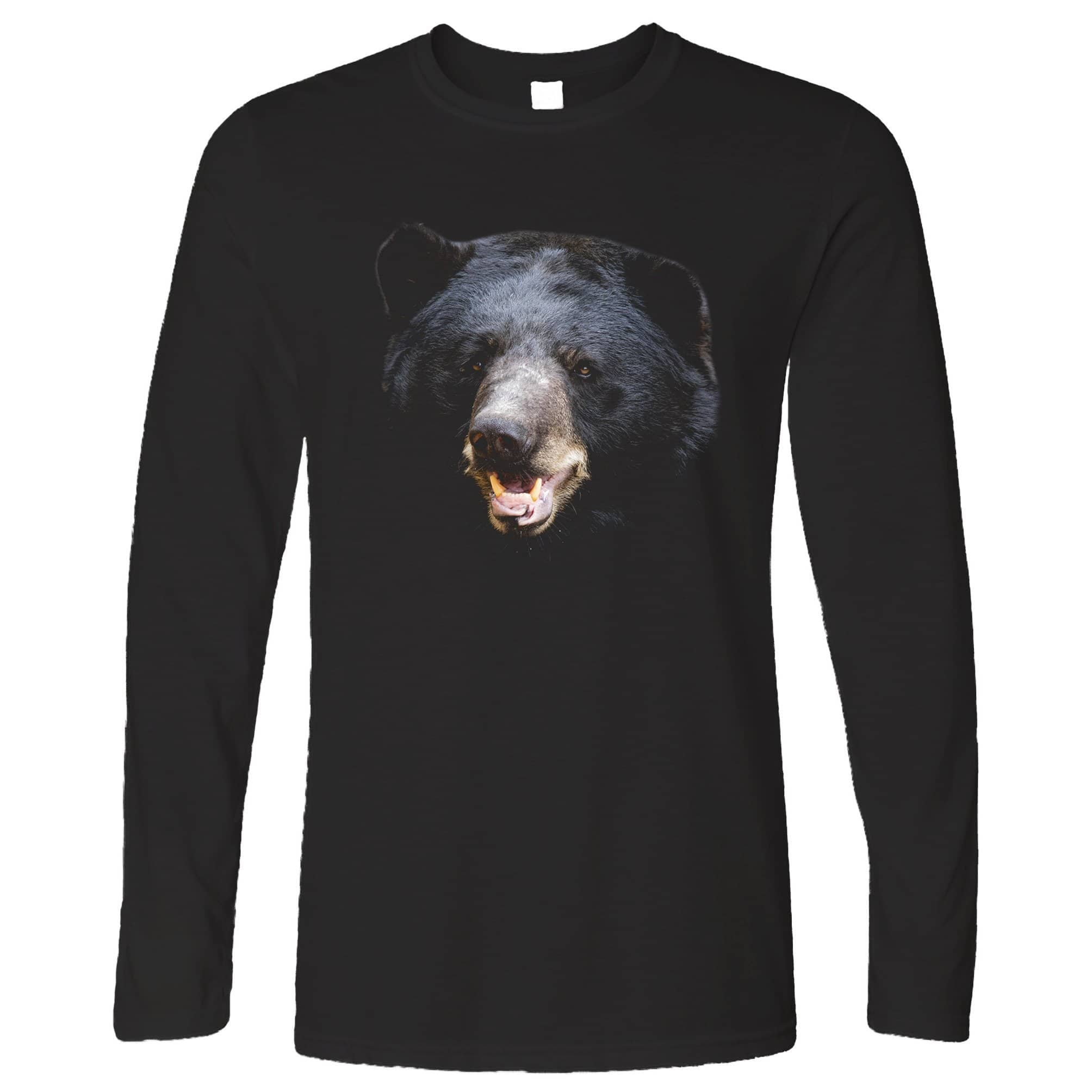 Bear Face Long Sleeve Powerful Black-Bear Head T-Shirt