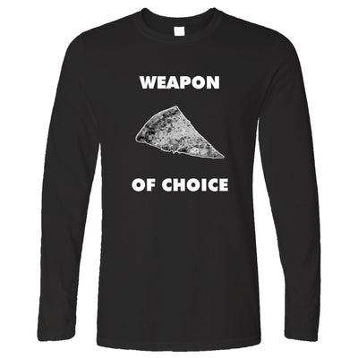 Novelty Food Long Sleeve Weapon of Choice Pizza Slice T-Shirt