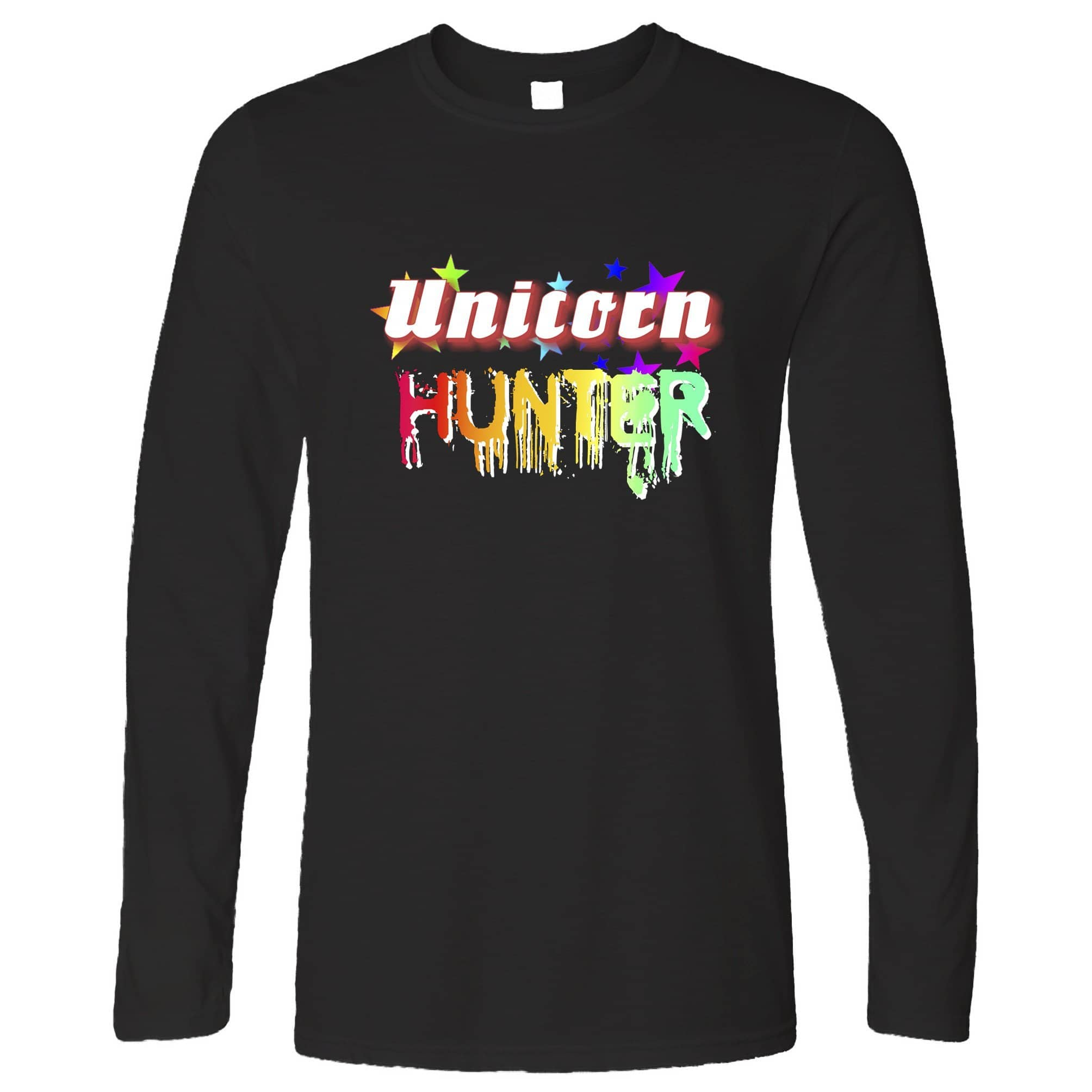 Fantasy Long Sleeve Unicorn Hunter Rainbow Slogan T-Shirt