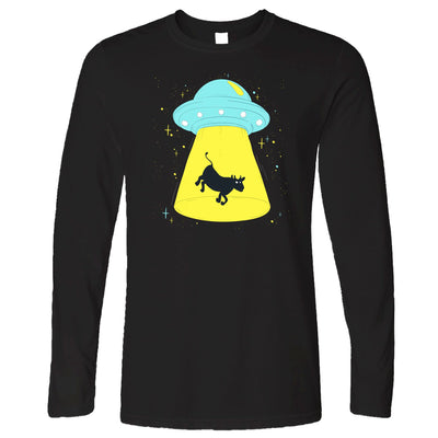 Alien Long Sleeve Cow Being Abducted T-Shirt
