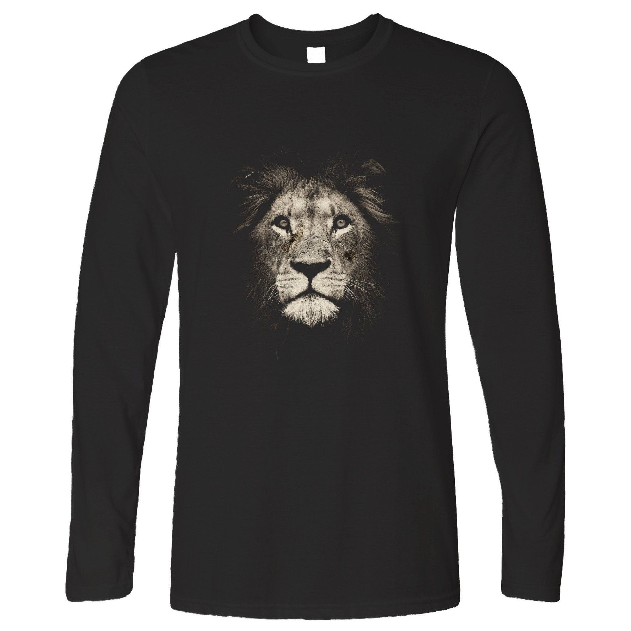 Stylish Animal Long Sleeve Photographic Lion Face Design T-Shirt
