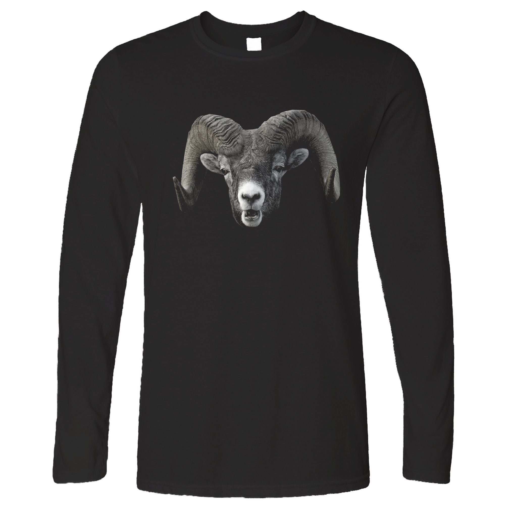 Ram Face Long Sleeve Cool Horned Goat Head T-Shirt