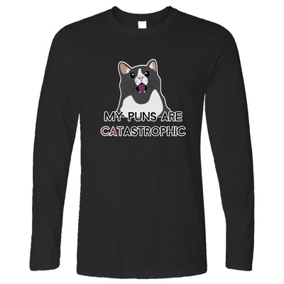 Novelty Cat Long Sleeve My Puns Are Catastrophic Joke T-Shirt
