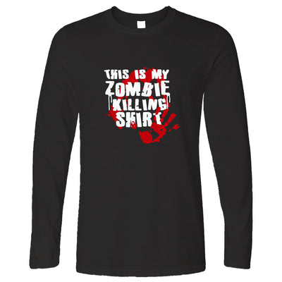 This Is My Zombie Killing Long Sleeve Halloween Slogan T-Shirt