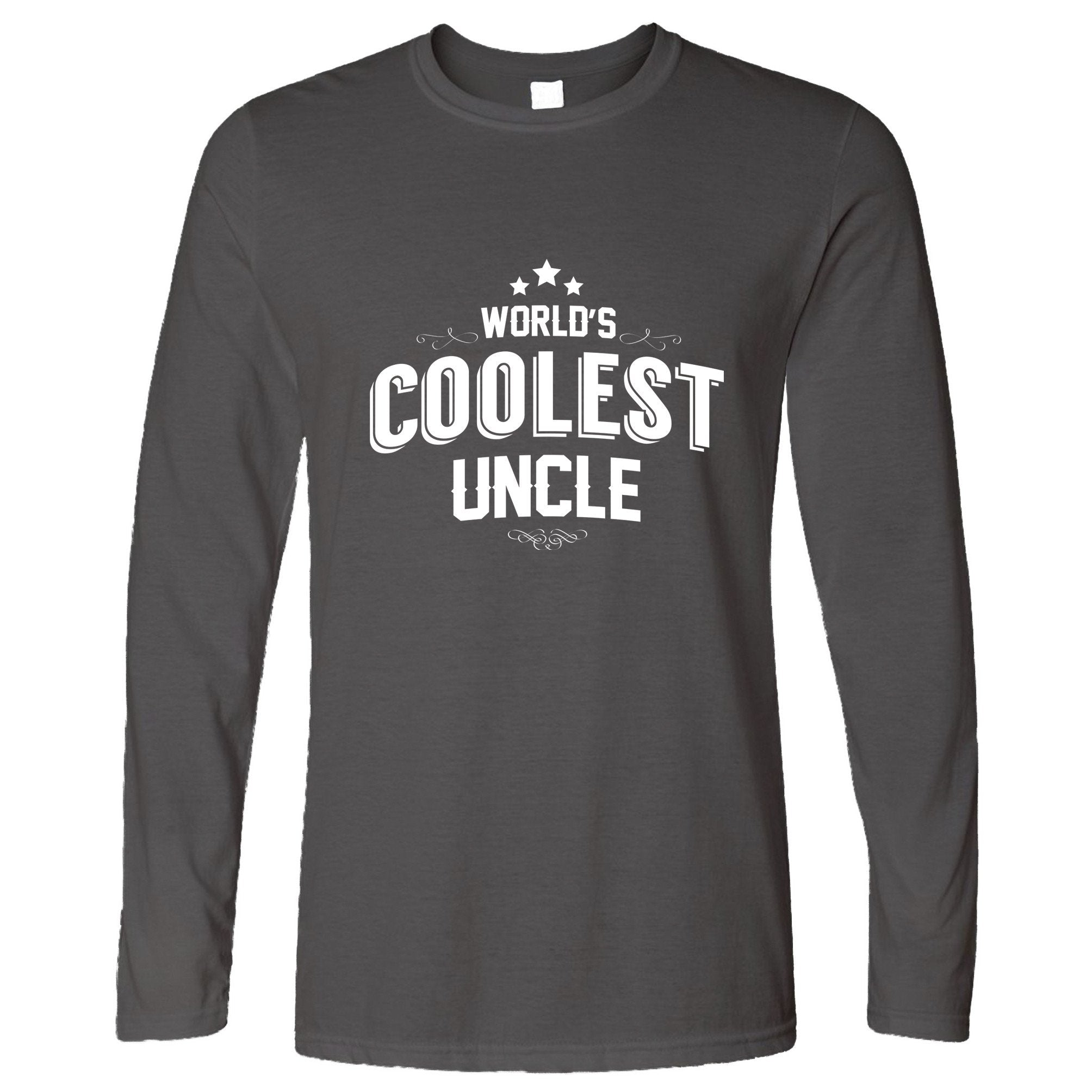 Novelty Long Sleeve Worlds Coolest Uncle Slogan T-Shirt